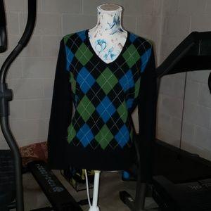 Apt. 9 100% Cashmere Argyle sweater